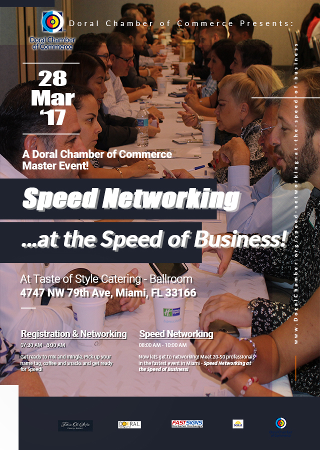Speed Networking at the Speed of Business, a Doral Chamber of Commerce event.