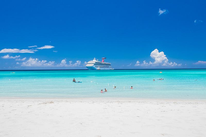 Carnival Cruise near Miami Beach on a Sunny Day.