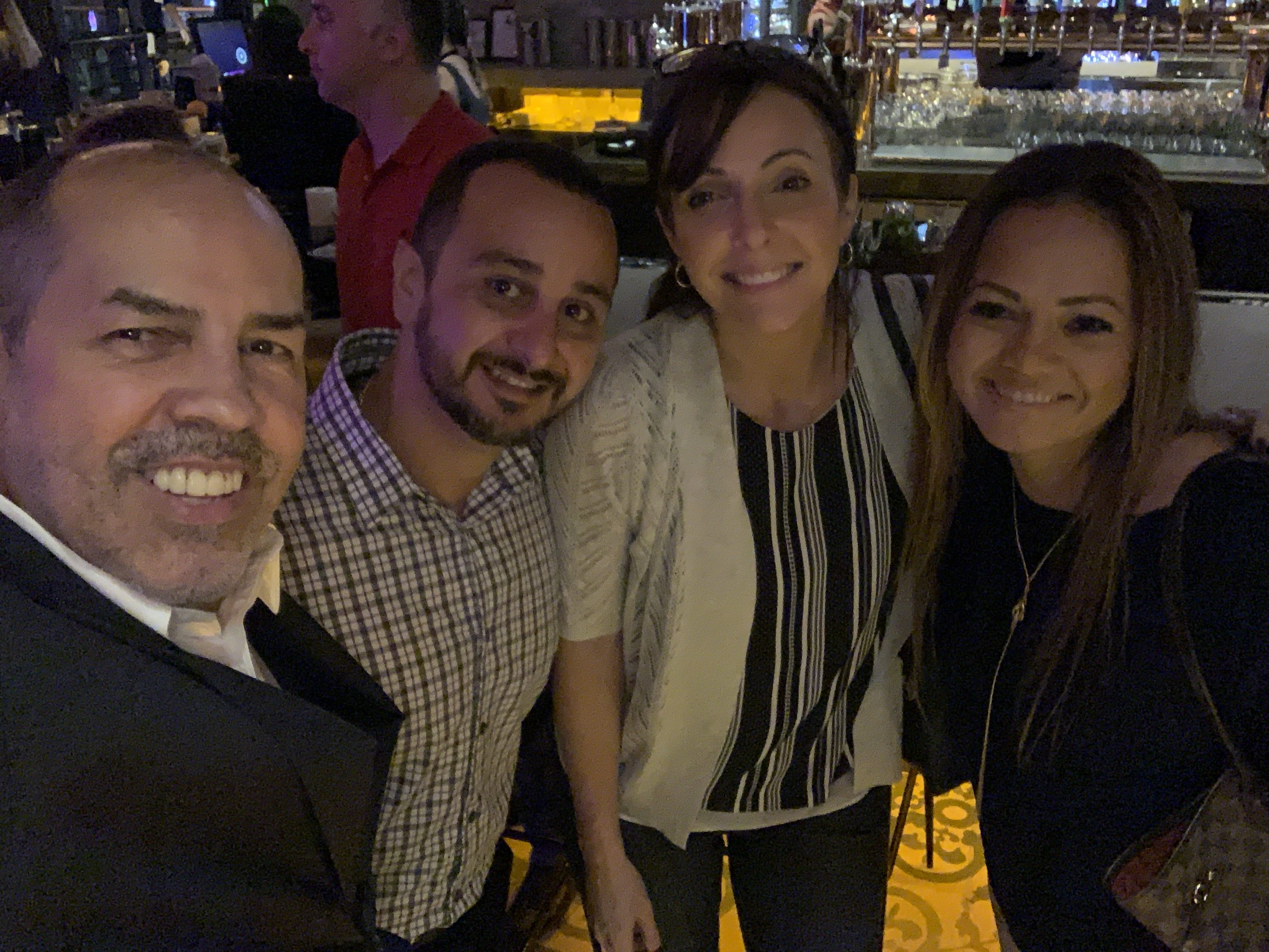 Selfie with people at Copper Blues Improv Grand Opening, a Doral Chamber of Commerce event.