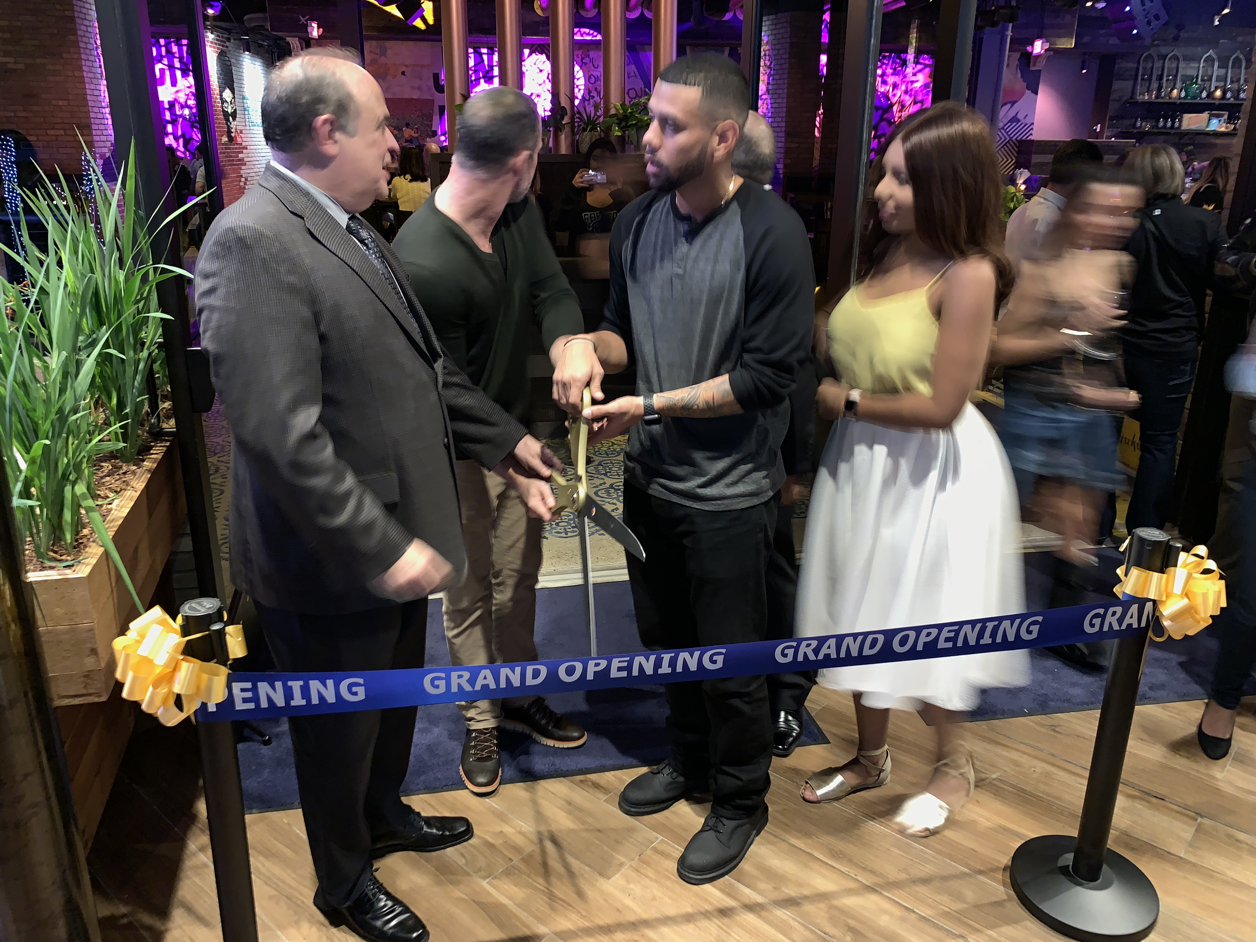 Ribbon cutting with Mayor at Copper Blues Improv hosted by the Doral Chamber of Commerce.