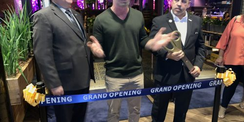 Copper Blues Improv Grand Opening, preparing to cut the ribbon, a Doral Chamber of Commerce event.