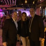 Taking photo with Mayor at Copper Blues Improv Grand Opening, a Doral Chamber of Commerce event.