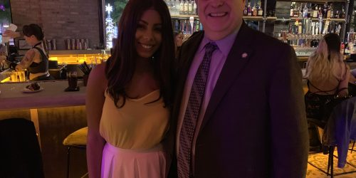 Picture with the Mayor at the Copper Blues Grand Opening hosted by the Doral Chamber of Commerce.