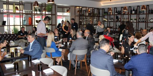 Doral Chamber of Commerce, Gusto Ristobar Luncheon more guests coming in.