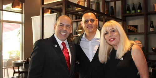 Manny Sarmiento, Carmen Lopez, and Bayardo Aleman in Gusto Ristobar Luncheon hosted by Doral Chamber of Commerce.