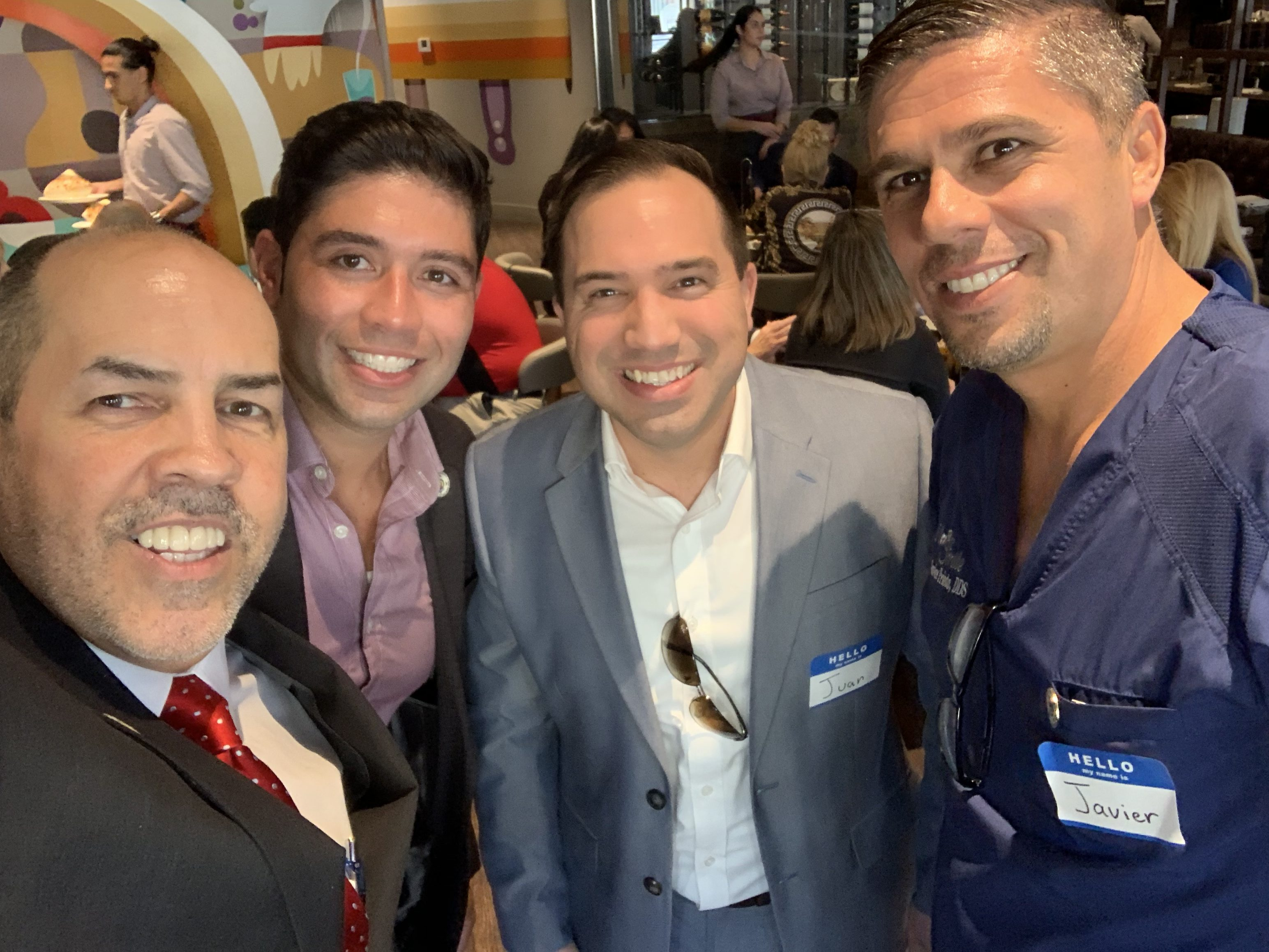 Manny Sarmiento, PereGonza, and Javier Prieto at Gusto Ristobar Luncheon hosted by the Doral Chamber of Commerce.