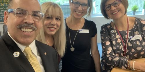 Doral Chamber of Commerce introduces DCC 21st Century Technology event, group photo with Manny Sarmiento and Carmen Lopez.