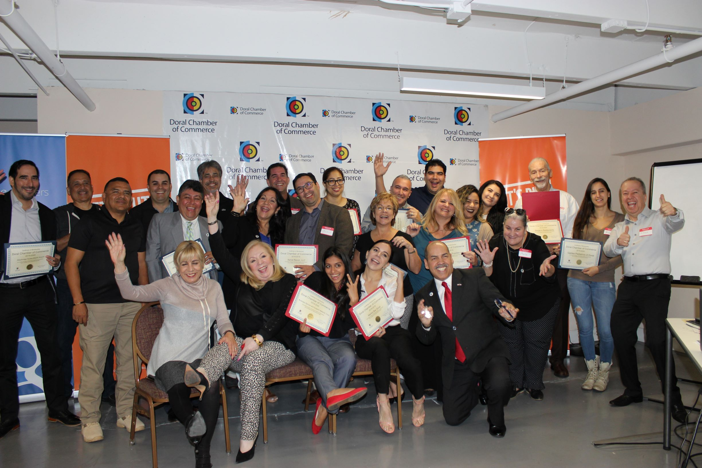 Doral Chamber of Commerce introduces Circle of Success event, group photo with Manny Sarmiento and Carmen Lopez.