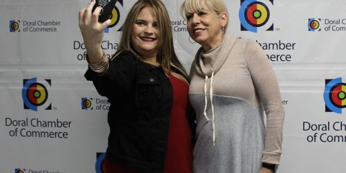 Doral Chamber of Commerce introduces Circle of Success event, selfie with Carmen Lopez.