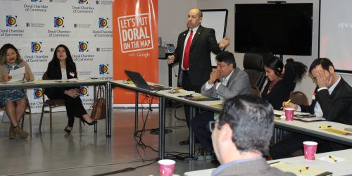 Doral Chamber of Commerce introduces Circles of Success event, Manny Sarmiento explaining about the Doral Chamber and it's benefits.
