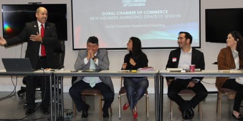 Doral Chamber of Commerce introduces Circle of Success event, new member strategy session, Manny Sarmiento explaining about the DCC.