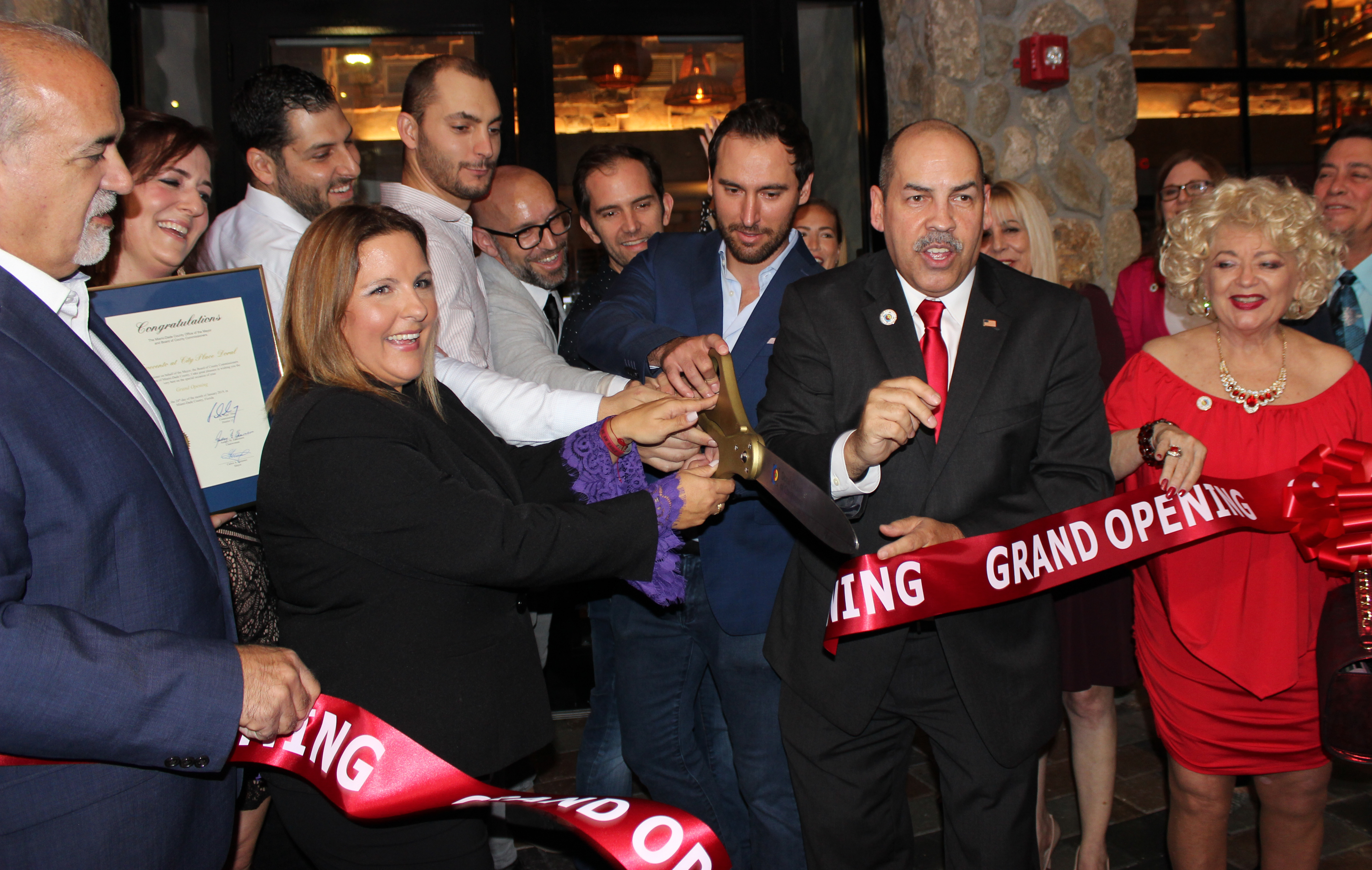 Doral Chamber of Commerce introduces Novecento Grand Opening, ribbon cut and the restaurant open.