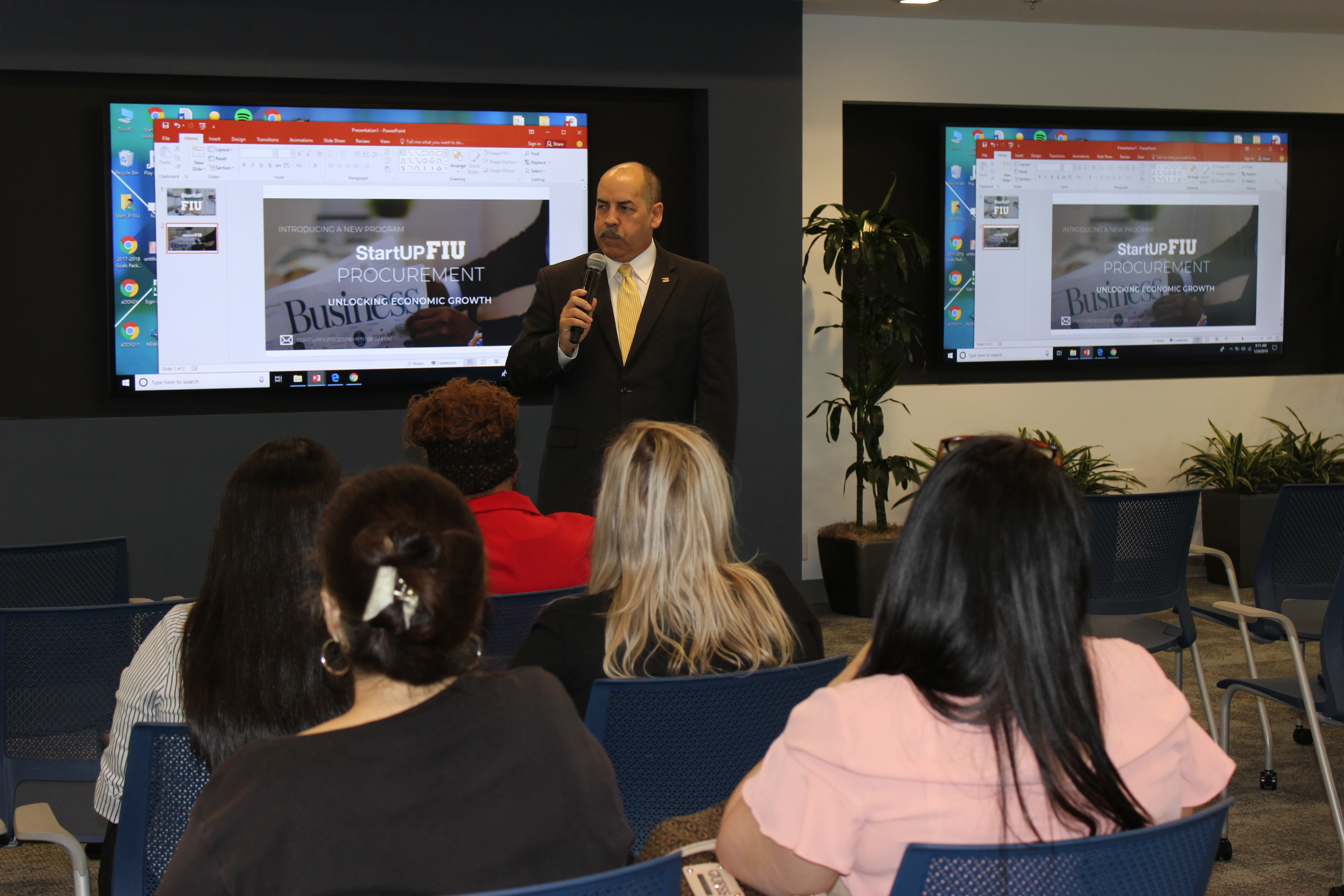 Doral Chamber of Commerce introduces DCC 21st Century Technology event, Manny Sarmiento explaining Startup FIU Doral.