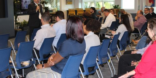 Doral Chamber of Commerce introduces DCC 21st Century Technology event, members learning about the latest technology from Manny Sarmiento.