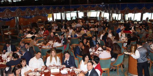Doral Chamber of Commerce Carnival Cruise Luncheon 2019, Networking Event in Miami, Florida. The entire Dining Hall inside Carnival Cruise Victory.