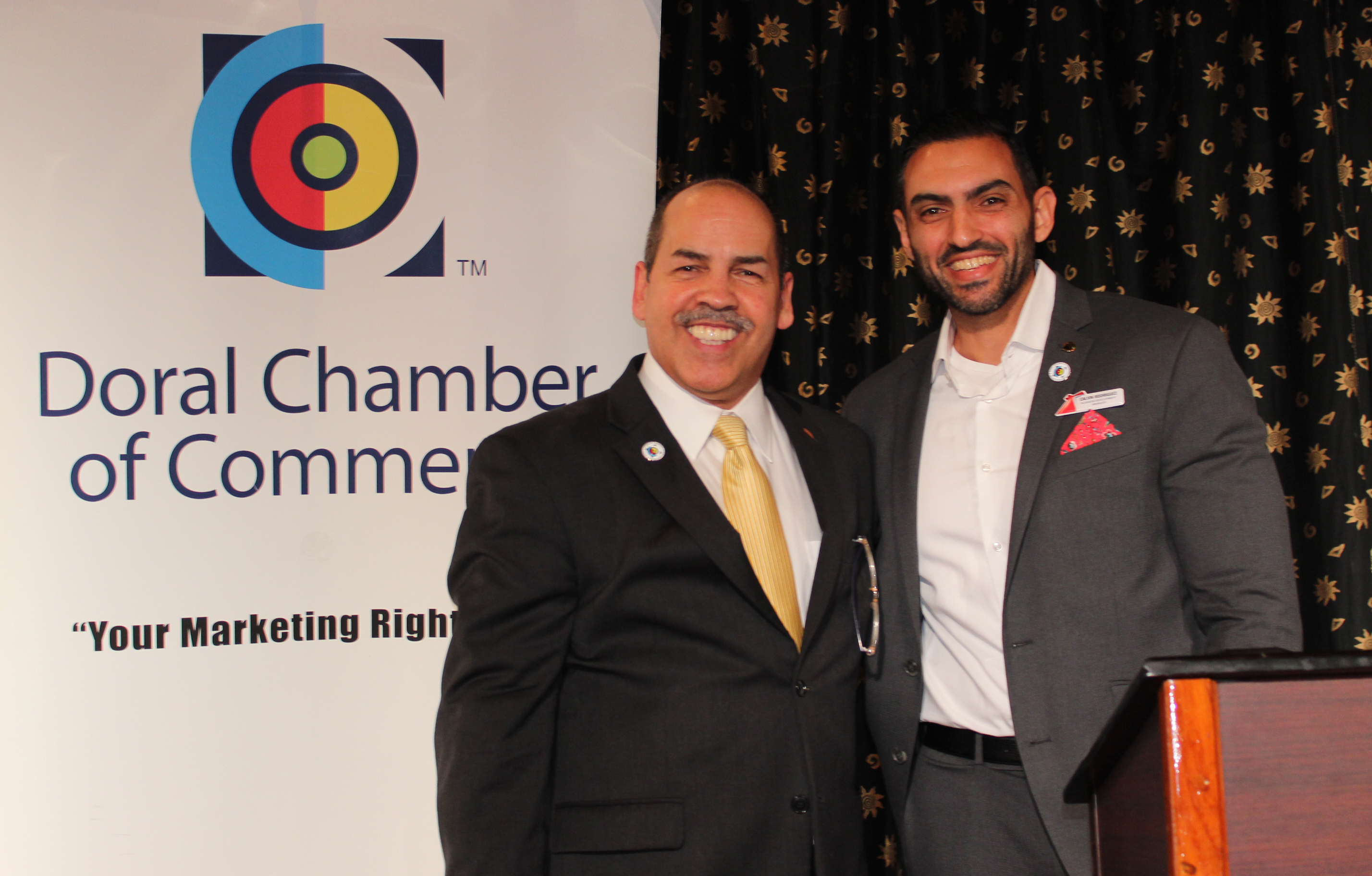 Doral Chamber of Commerce Carnival Cruise Luncheon 2019, Networking Event in Miami, Florida. Manny Sarmiento with Carnival Cruise Victory Host.