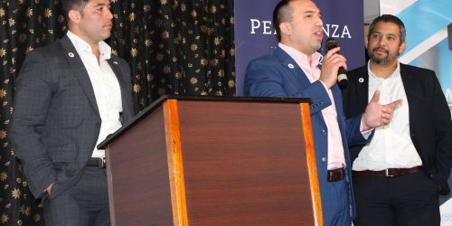 Doral Chamber of Commerce Carnival Cruise Luncheon 2019, Networking Event in Miami, Florida. PereGonza Law Group talking on stage, Juan Perez.