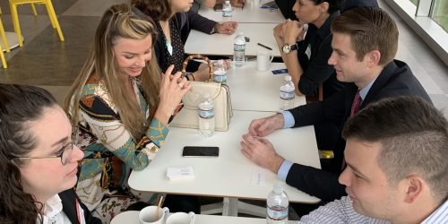 Doral Chamber of Commerce IKEA Speed Networking Event, hundreds of members passing cards, and discussing about each others businesses.