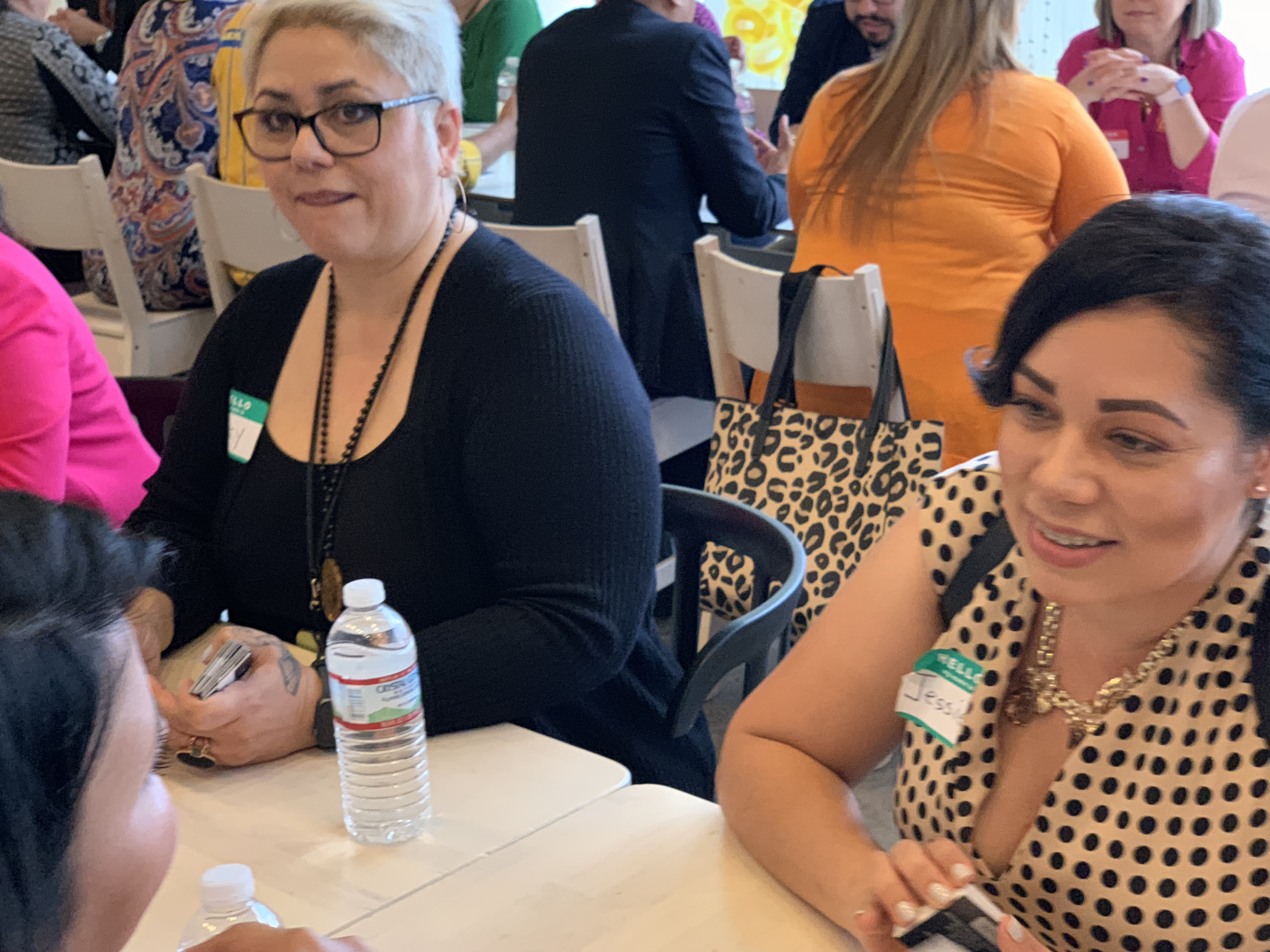 Doral Chamber of Commerce IKEA Speed Networking Event, DCC Member ladies discussing about their companies and passing business cards to one another.