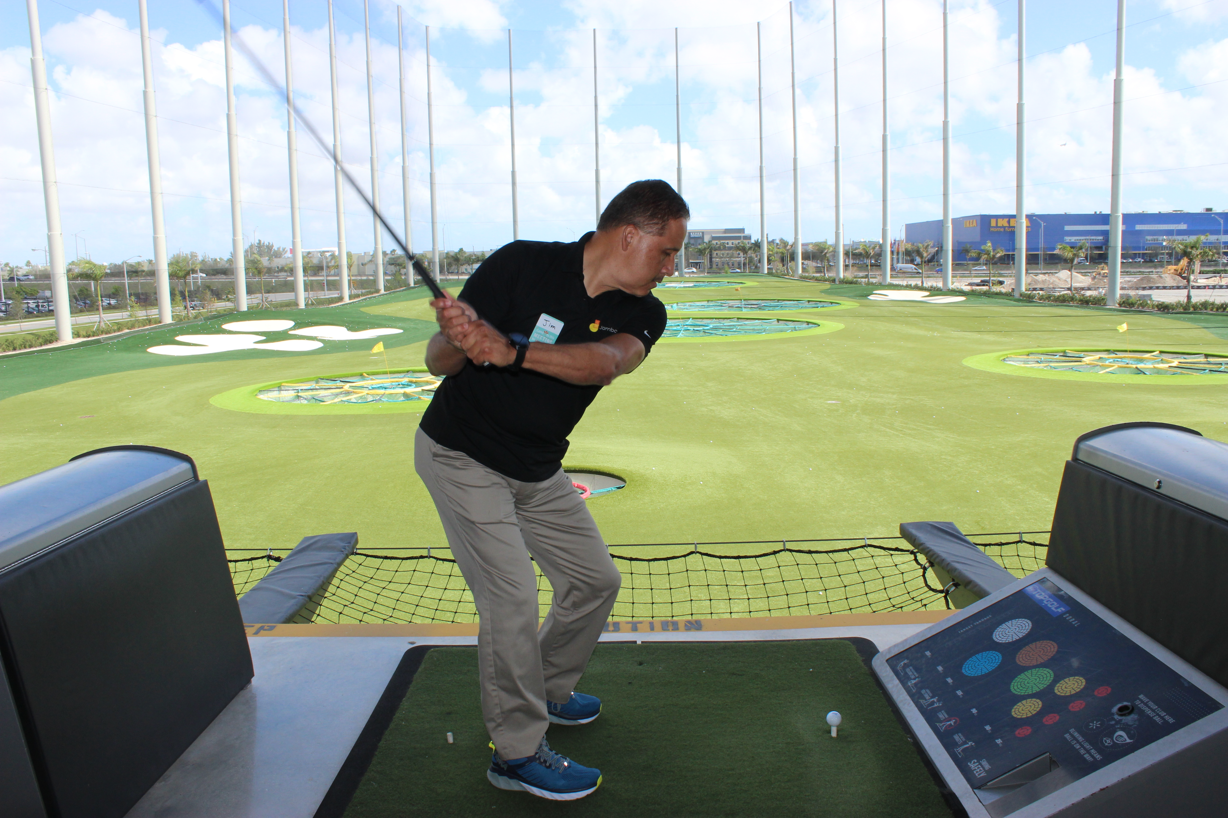 Doral Chamber of Commerce introduces a member playing golf at TopGolf Doral.