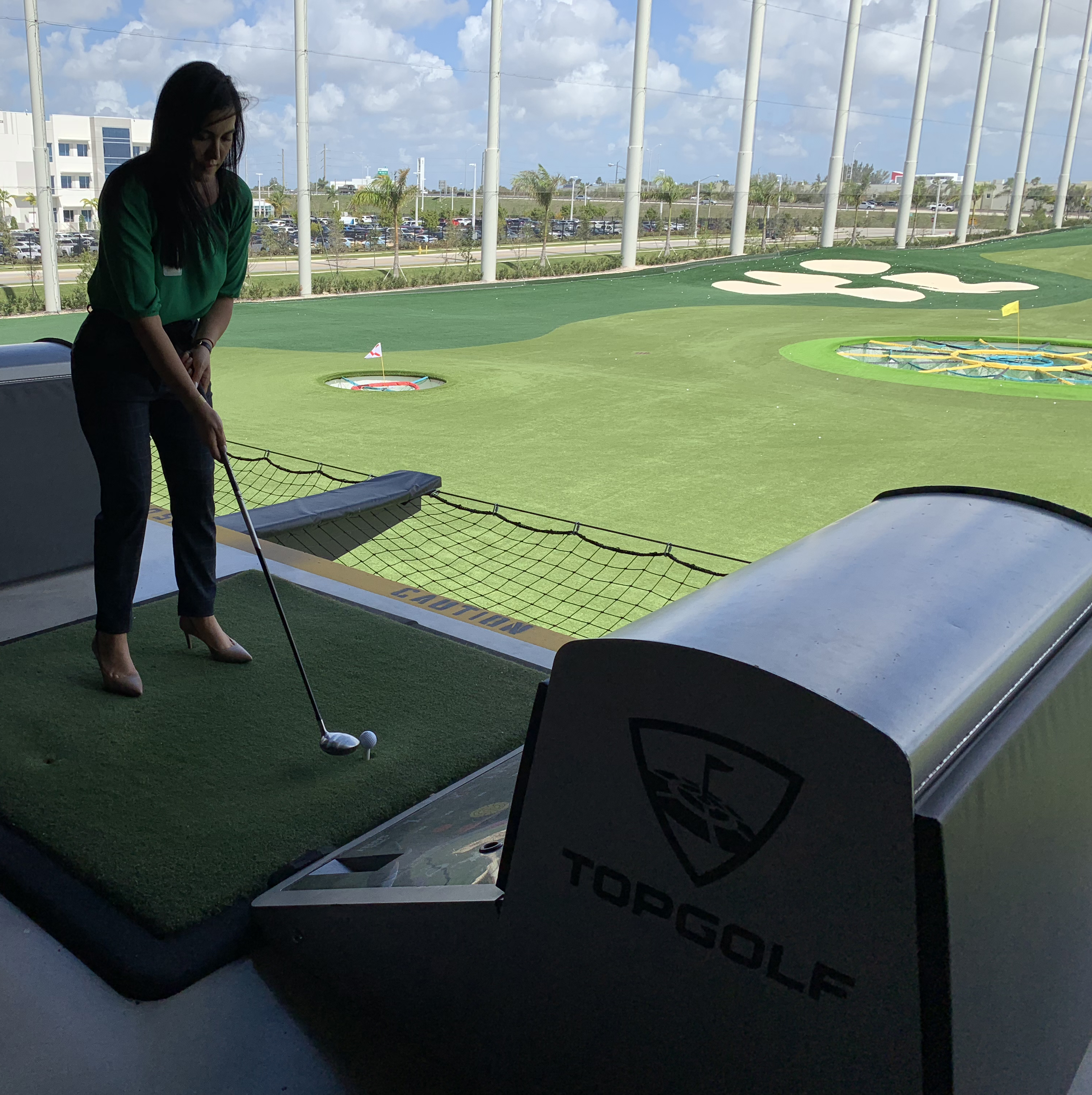 Doral Chamber of Commerce introduces a member playing golf, having fun at Topgolf Doral Networking Luncheon.