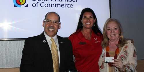 Doral Chamber of Commerce introduces Manny Sarmiento taking a group photo with Topgolf and The Miami Group at the Luncheon Networking Event.