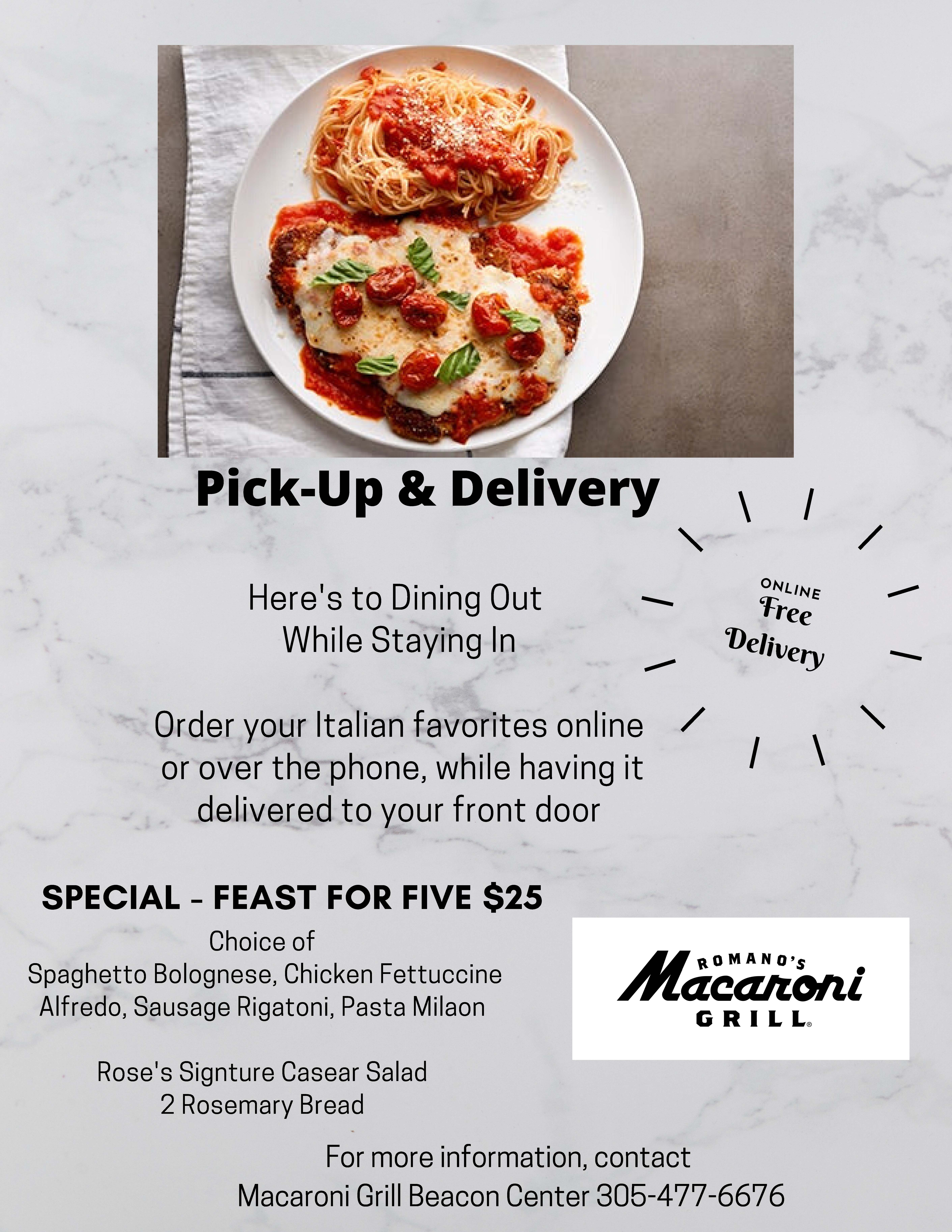 Macaroni Grill Doral Pick Up and Delivery Taste of Doral