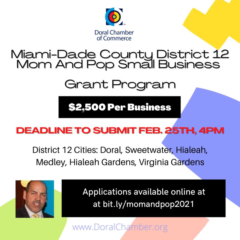 Download Doral Chamber of Commerce Mom and Pop Grants District 12 Miami-Dade Applications