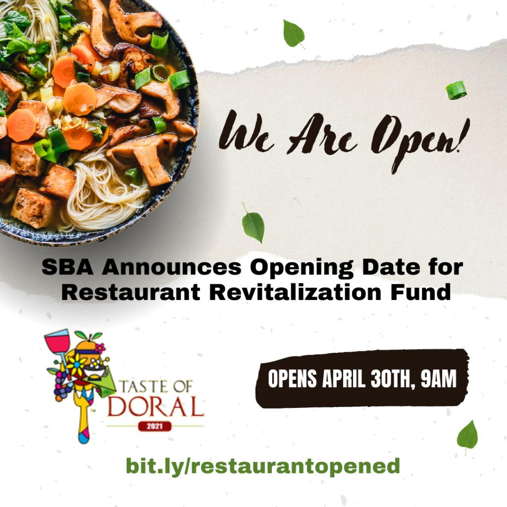 SBA announces opening date for Restaurant Revitalization Fund. Taste of Doral / Doral Chamber of Commerce.