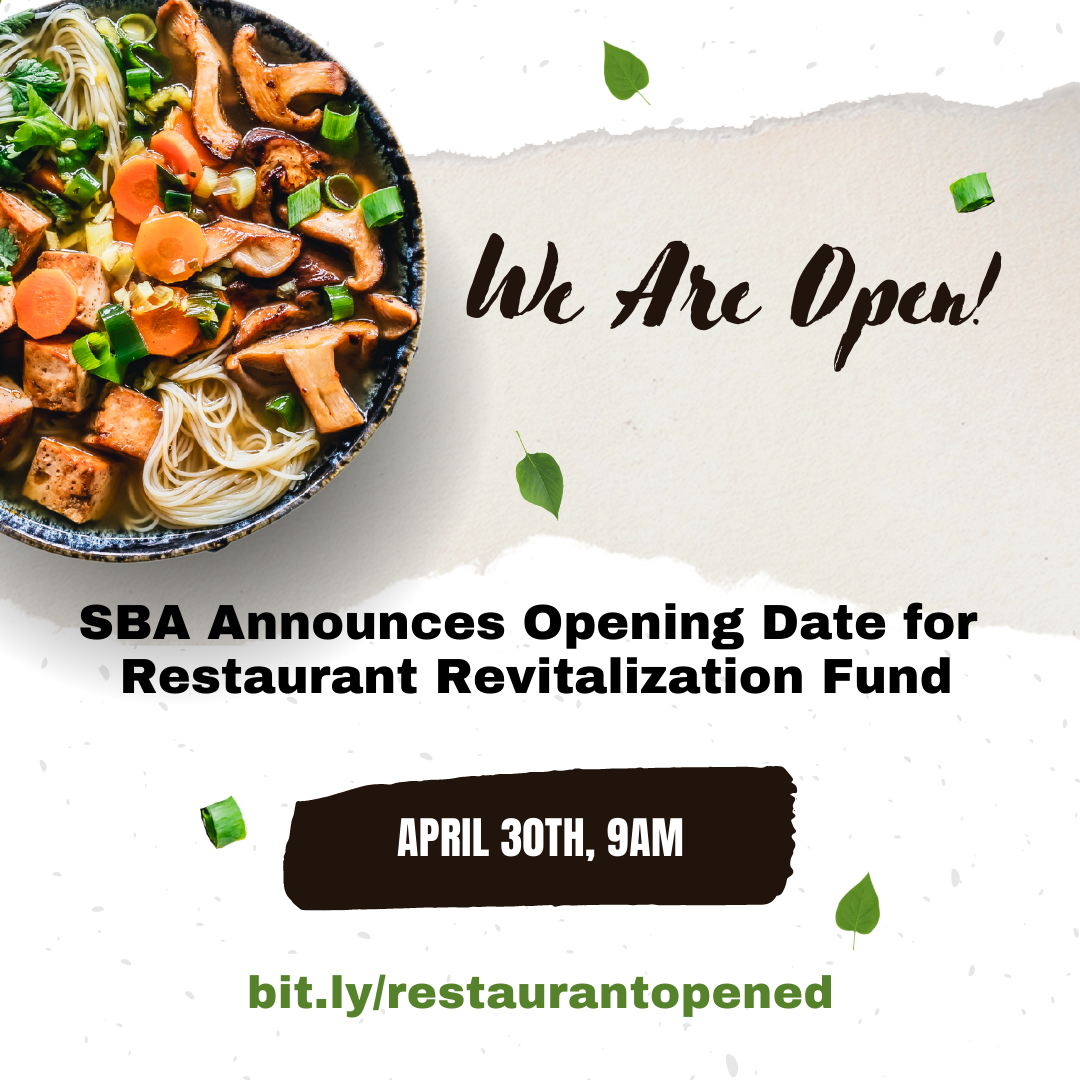 SBA announces opening date for Restaurant Revitalization Fund. Doral Chamber of Commerce.