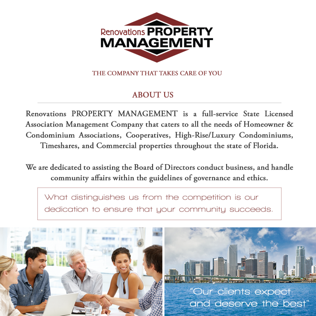 Renovations Property Management is a full-service State Licensed Association Management Company. A Doral Chamber of Commerce member.