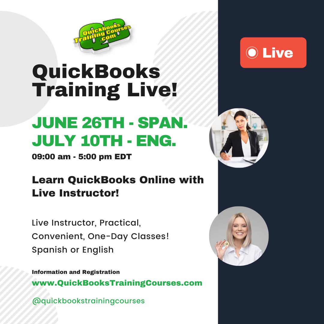 QuickBooks Training Live Online Spanish or English