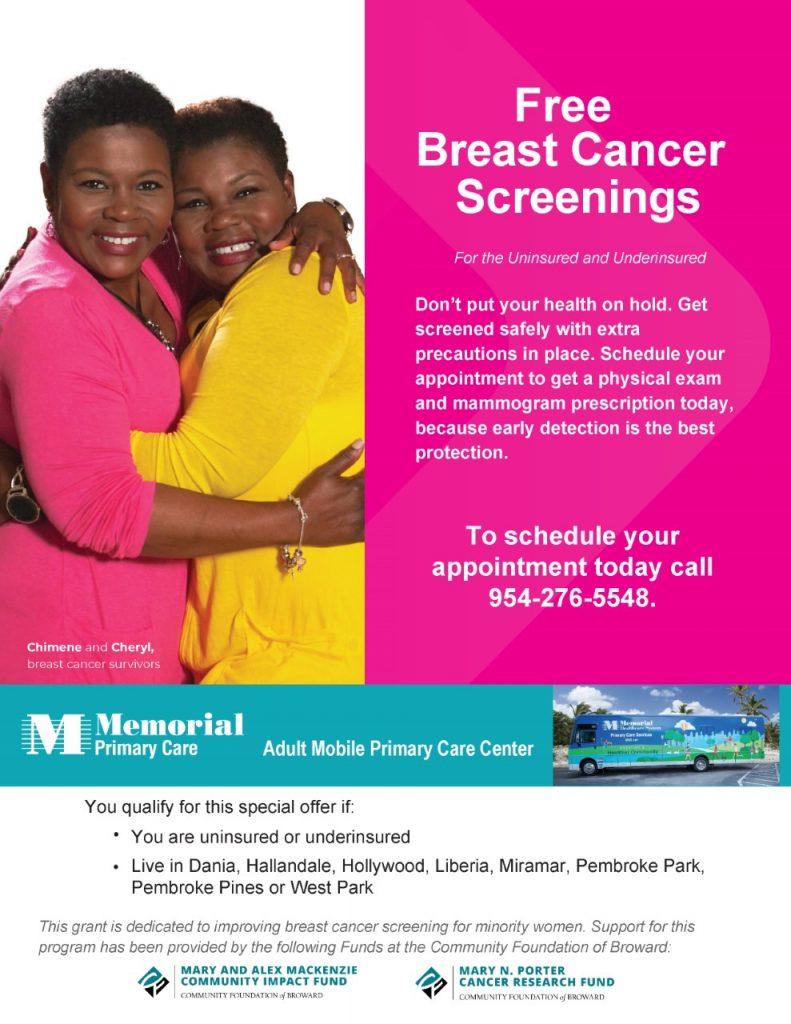 Free Mammograms at Memorial Hospital Miramar. Doral Chamber.