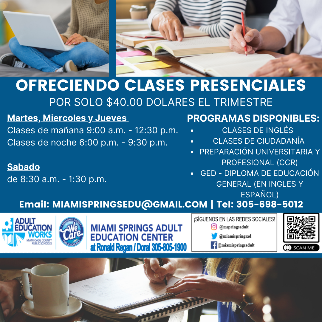 Ronald Reagan High School Adult Spanish Course. Doral Chamber of Commerce.